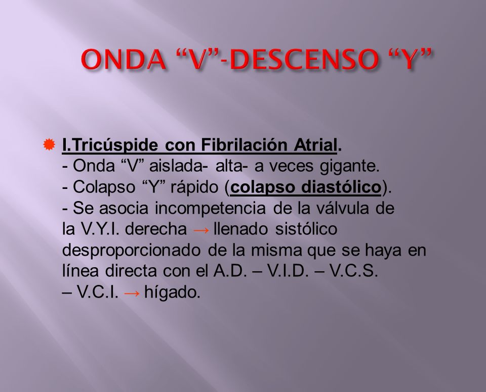 ONDA V -DESCENSO Y I.Tricúspide con Fibrilación Atrial.
