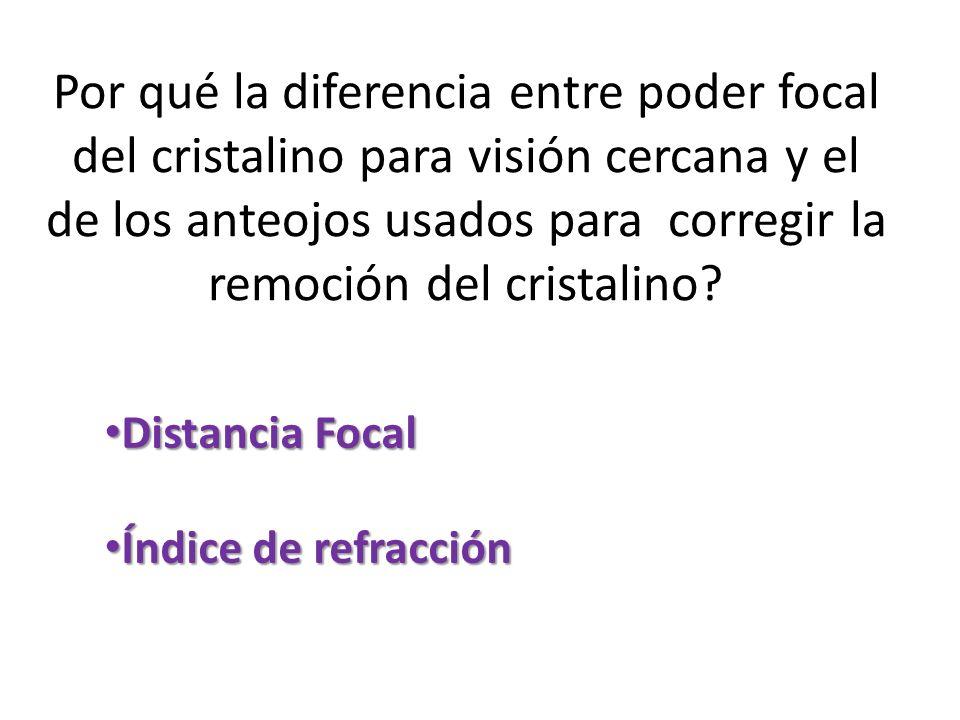 Por qué la diferencia entre poder focal del cristalino para visión cercana y el de los anteojos usados para corregir la remoción del cristalino
