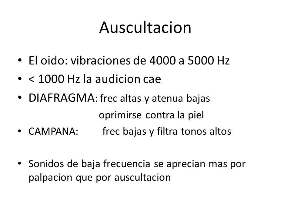 Auscultacion El oido: vibraciones de 4000 a 5000 Hz