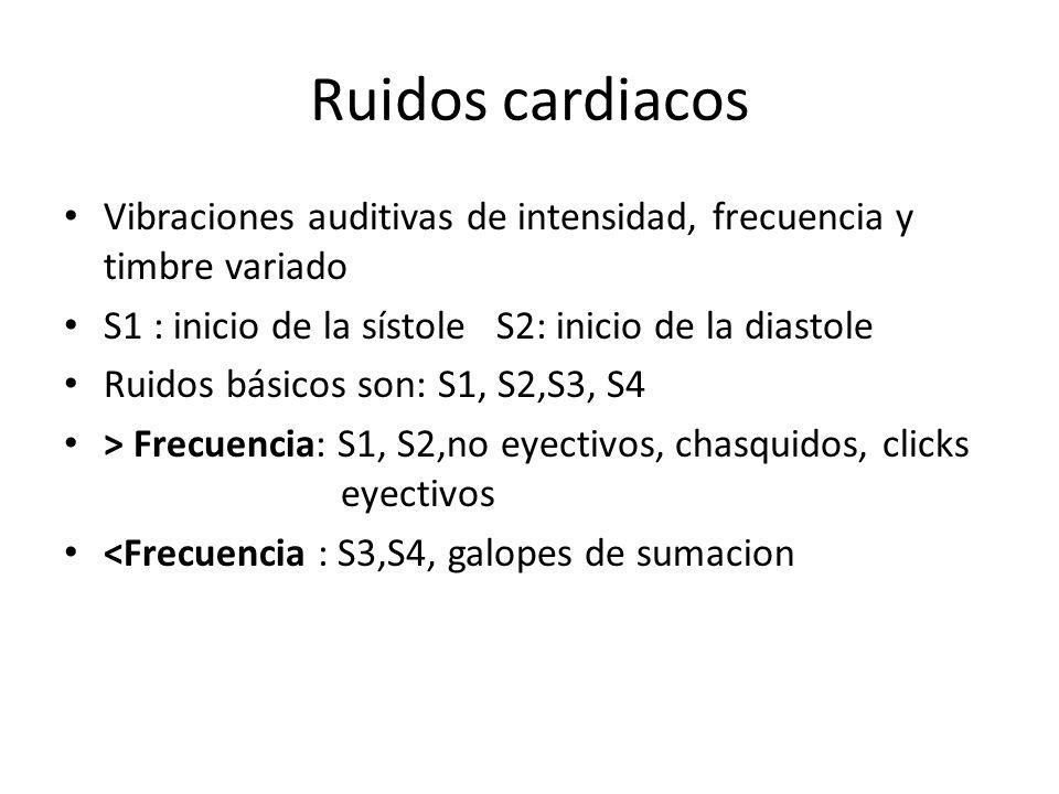 Ruidos cardiacos Vibraciones auditivas de intensidad, frecuencia y timbre variado. S1 : inicio de la sístole S2: inicio de la diastole.