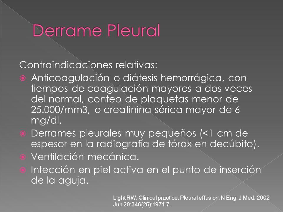 Derrame Pleural Contraindicaciones relativas: