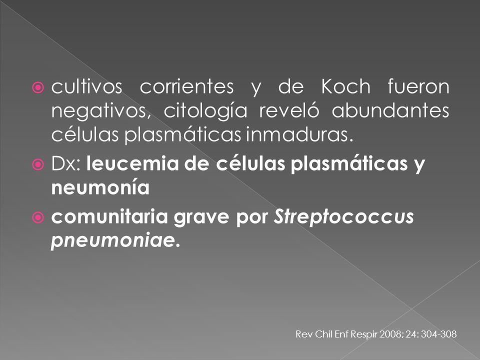 Dx: leucemia de células plasmáticas y neumonía