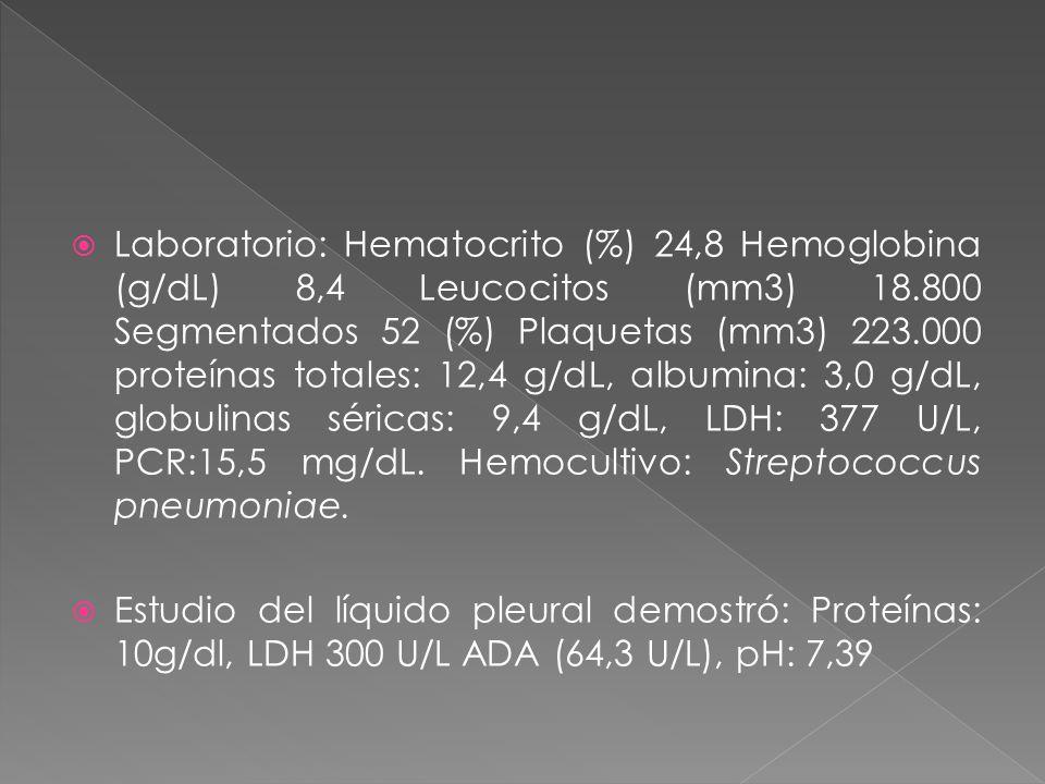Laboratorio: Hematocrito (%) 24,8 Hemoglobina (g/dL) 8,4 Leucocitos (mm3) 18.800 Segmentados 52 (%) Plaquetas (mm3) 223.000 proteínas totales: 12,4 g/dL, albumina: 3,0 g/dL, globulinas séricas: 9,4 g/dL, LDH: 377 U/L, PCR:15,5 mg/dL. Hemocultivo: Streptococcus pneumoniae.