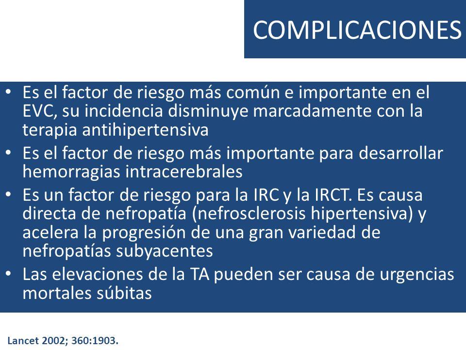 COMPLICACIONES Es el factor de riesgo más común e importante en el EVC, su incidencia disminuye marcadamente con la terapia antihipertensiva.
