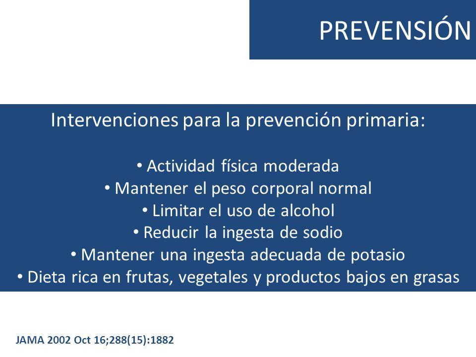 PREVENSIÓN Intervenciones para la prevención primaria: