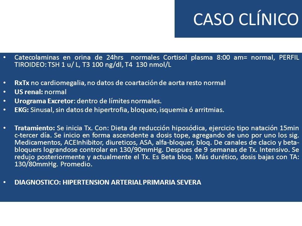 CASO CLÍNICOCatecolaminas en orina de 24hrs normales Cortisol plasma 8:00 am= normal, PERFIL TIROIDEO: TSH 1 u/ L, T3 100 ng/dl, T4 130 nmol/L.