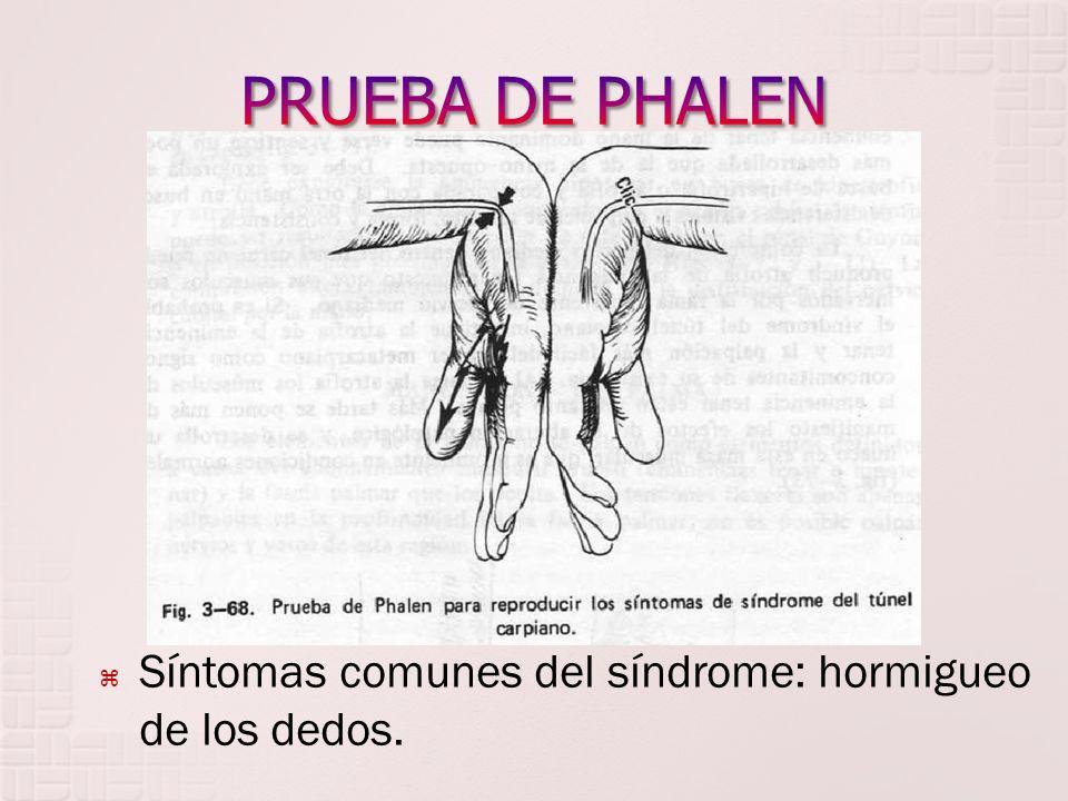 PRUEBA DE PHALEN Síntomas comunes del síndrome: hormigueo de los dedos.
