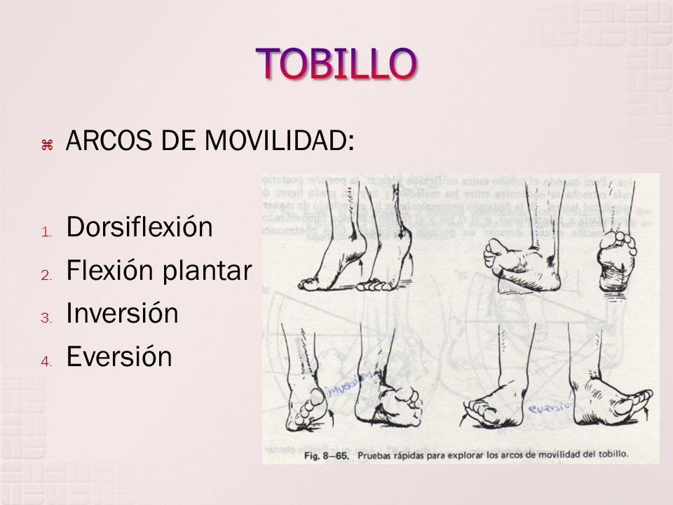 TOBILLO ARCOS DE MOVILIDAD: Dorsiflexión Flexión plantar Inversión