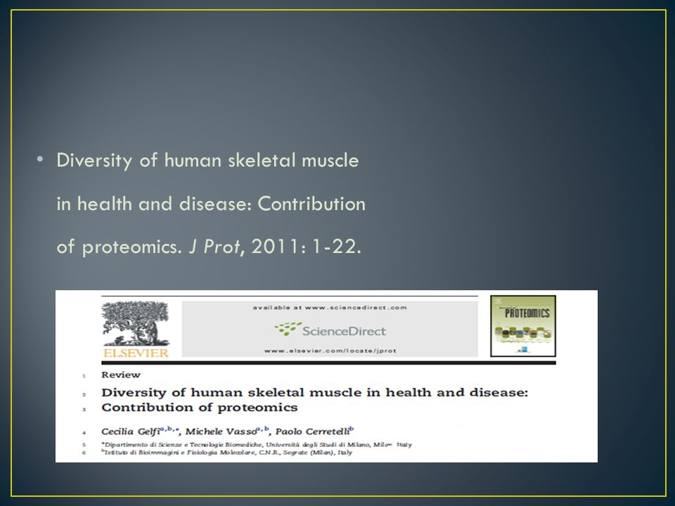 Diversity of human skeletal muscle in health and disease: Contribution of proteomics.