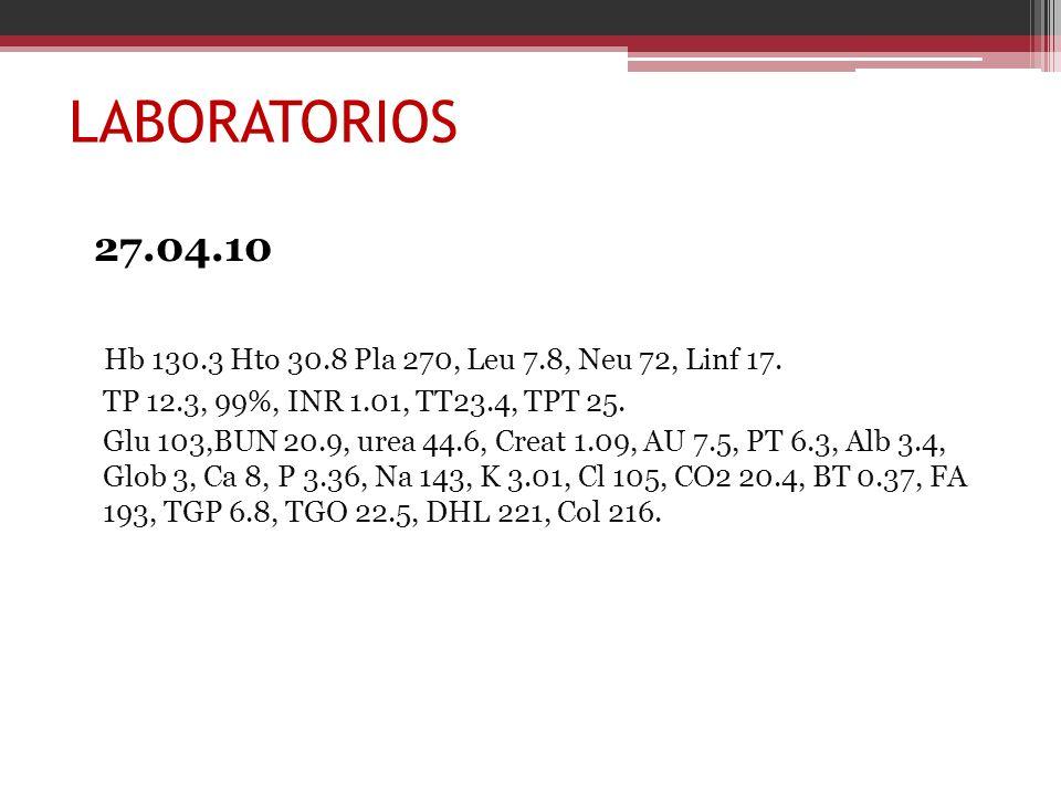 LABORATORIOS27.04.10. Hb 130.3 Hto 30.8 Pla 270, Leu 7.8, Neu 72, Linf 17. TP 12.3, 99%, INR 1.01, TT23.4, TPT 25.