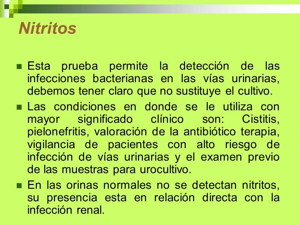 NitritosEsta prueba permite la detección de las infecciones bacterianas en las vías urinarias, debemos tener claro que no sustituye el cultivo.