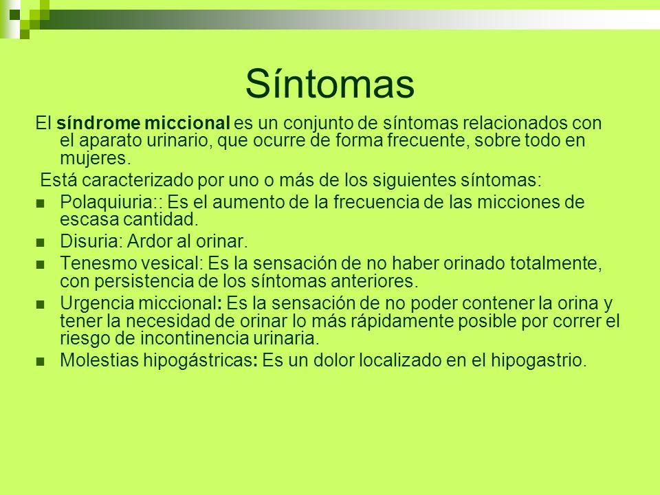 Síntomas El síndrome miccional es un conjunto de síntomas relacionados con el aparato urinario, que ocurre de forma frecuente, sobre todo en mujeres.