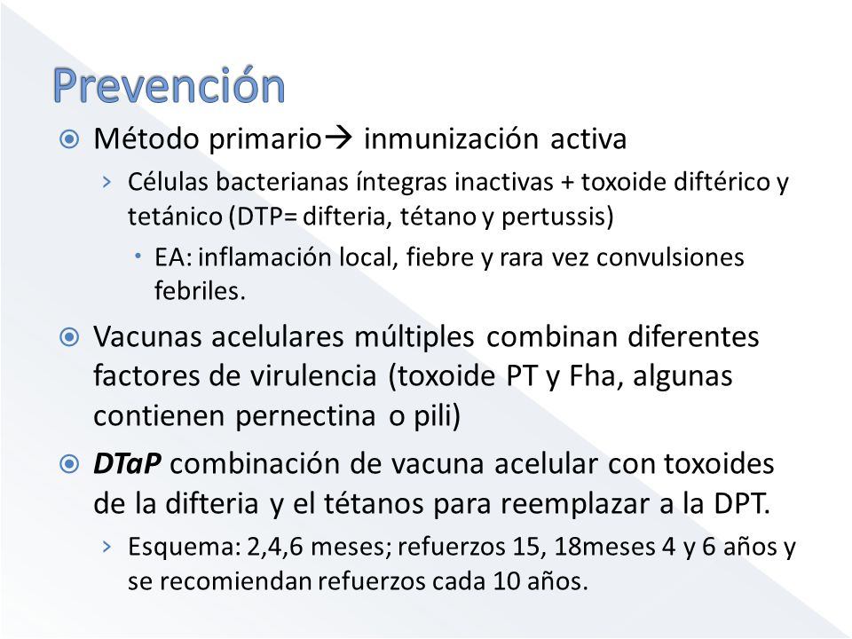 Prevención Método primario inmunización activa