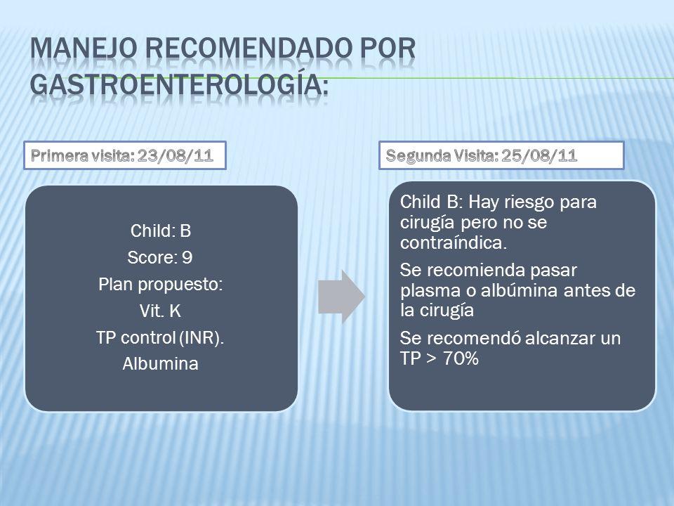 Manejo Recomendado Por Gastroenterología:
