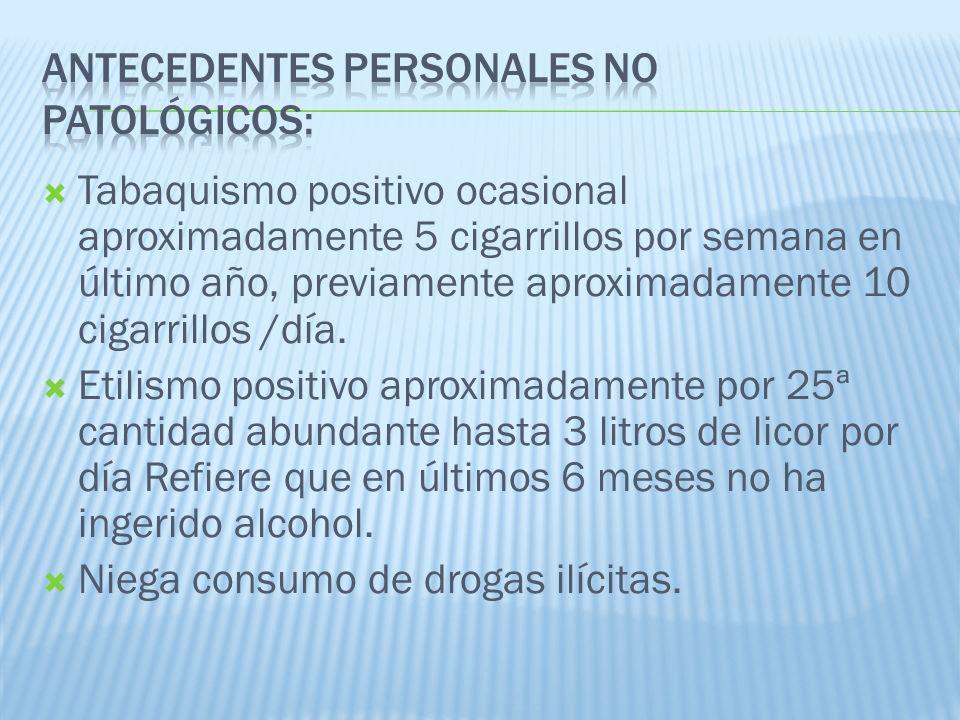 Antecedentes Personales No Patológicos: