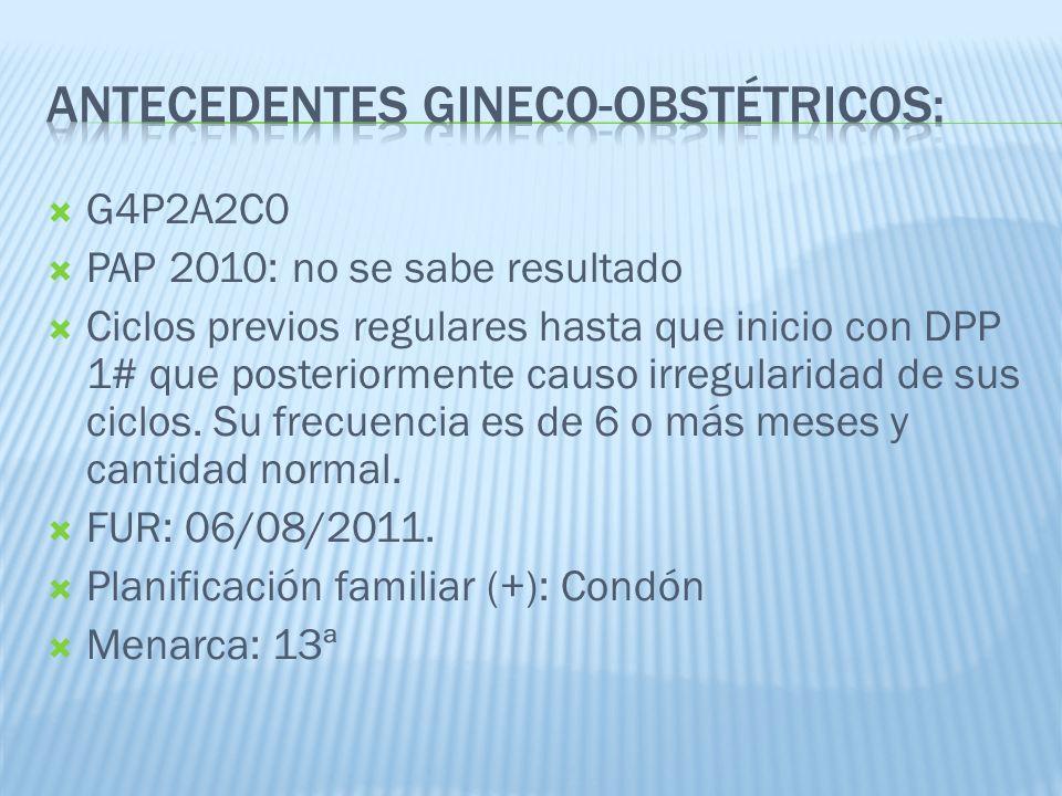 Antecedentes Gineco-obstétricos: