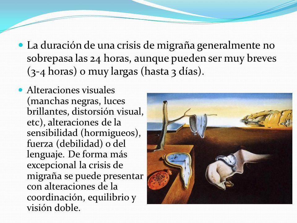 La duración de una crisis de migraña generalmente no sobrepasa las 24 horas, aunque pueden ser muy breves (3-4 horas) o muy largas (hasta 3 días).