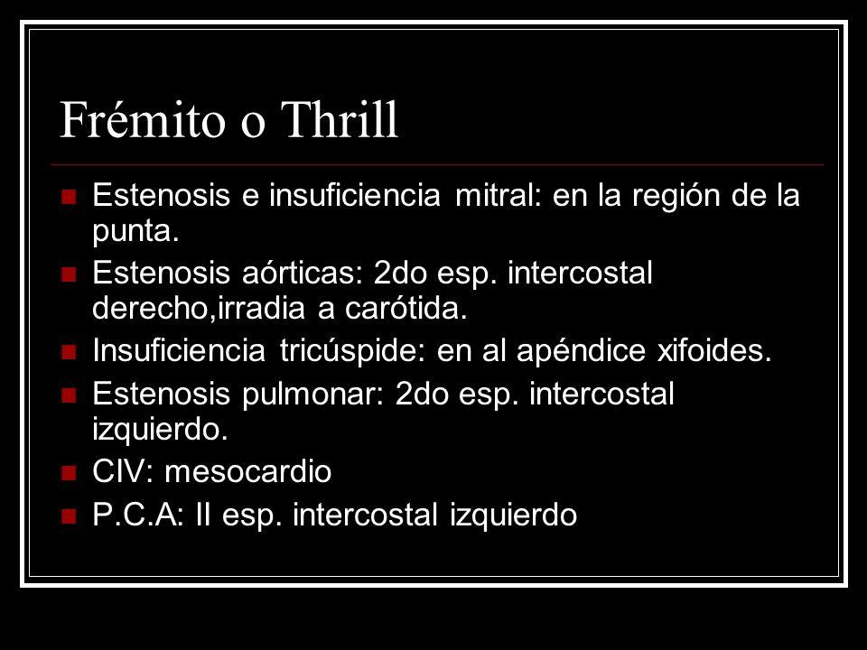 Frémito o Thrill Estenosis e insuficiencia mitral: en la región de la punta. Estenosis aórticas: 2do esp. intercostal derecho,irradia a carótida.