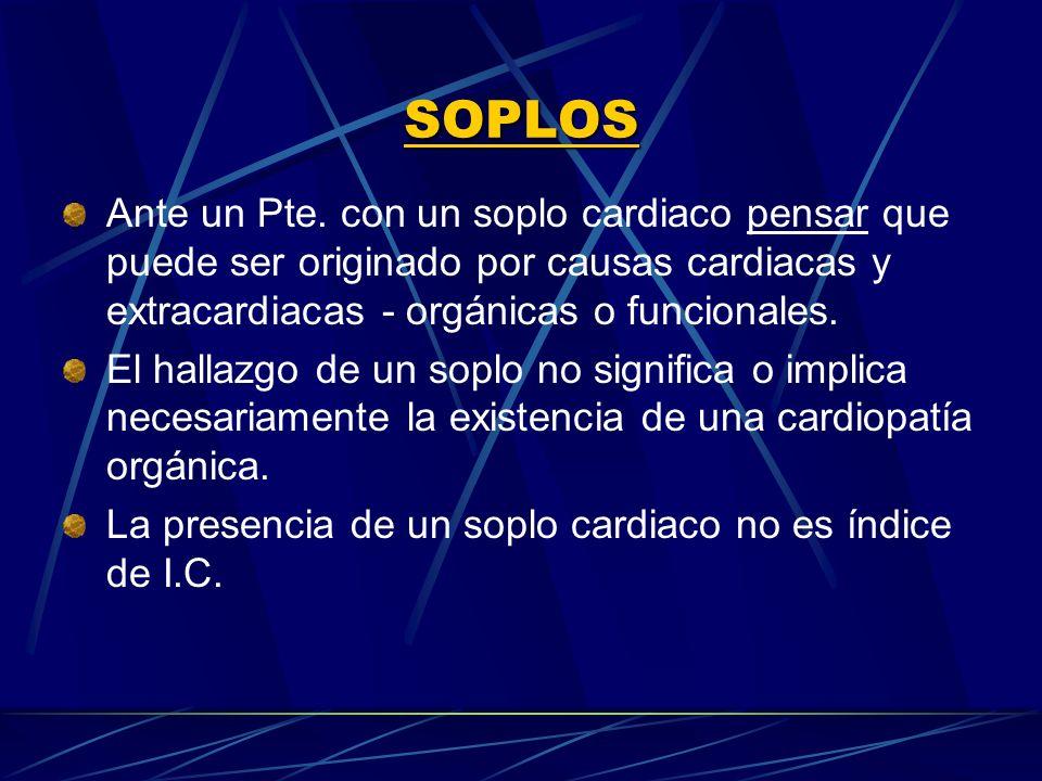 SOPLOS Ante un Pte. con un soplo cardiaco pensar que puede ser originado por causas cardiacas y extracardiacas ‑ orgánicas o funcionales.