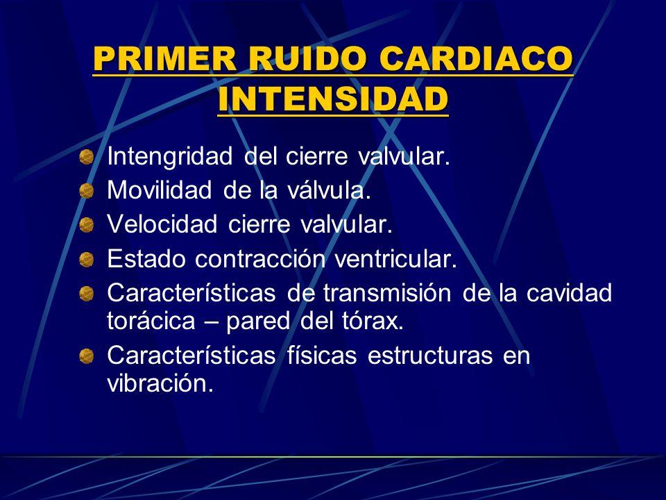 PRIMER RUIDO CARDIACO INTENSIDAD