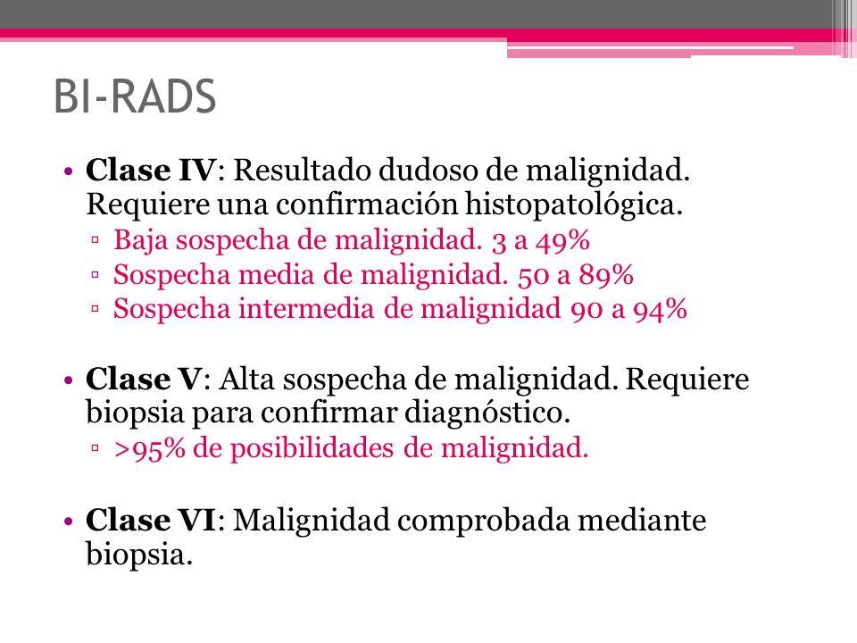 BI-RADS Clase IV: Resultado dudoso de malignidad. Requiere una confirmación histopatológica. Baja sospecha de malignidad. 3 a 49%