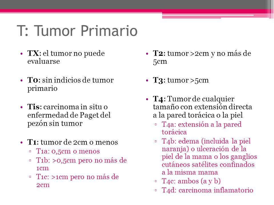 T: Tumor Primario TX: el tumor no puede evaluarse