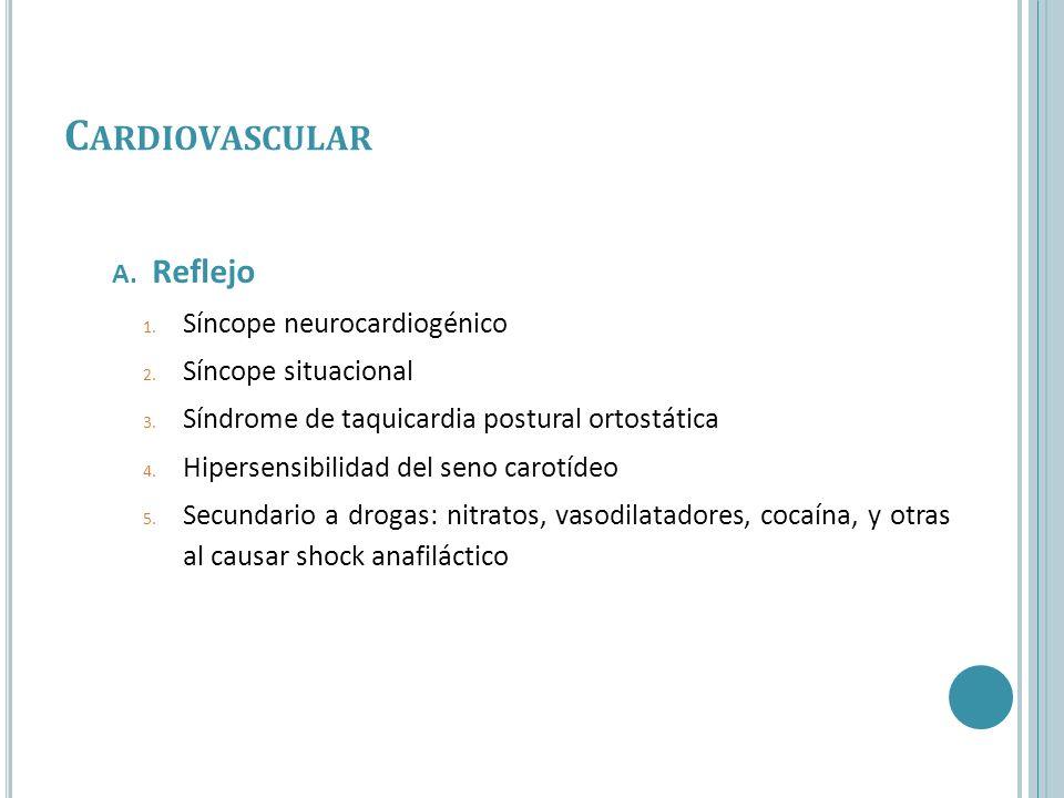 Cardiovascular Reflejo Síncope neurocardiogénico Síncope situacional