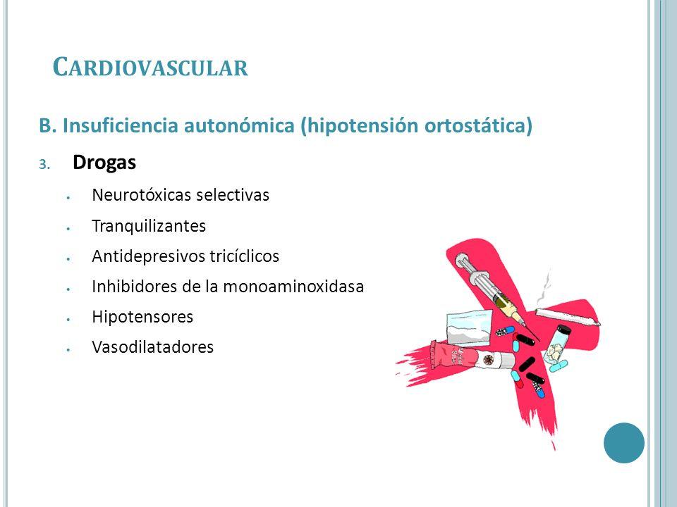 Cardiovascular B. Insuficiencia autonómica (hipotensión ortostática)