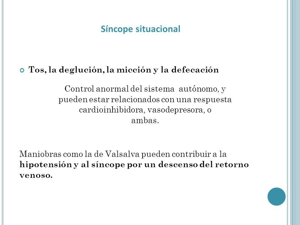 Síncope situacional Tos, la deglución, la micción y la defecación