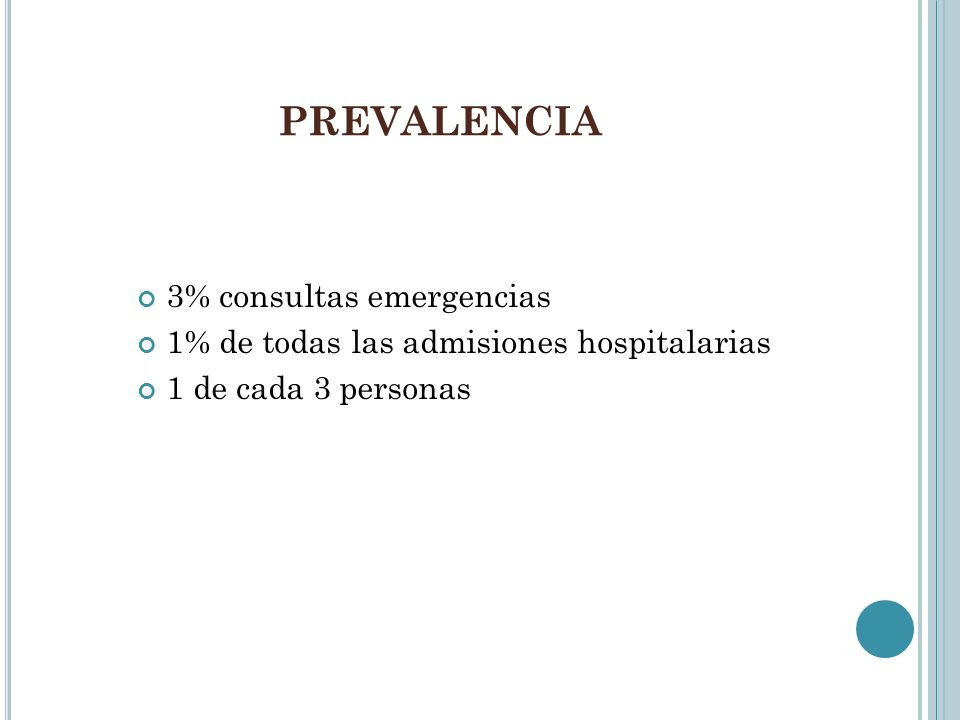 PREVALENCIA 3% consultas emergencias