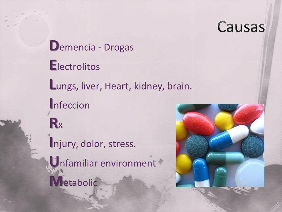 Causas Demencia - Drogas Electrolitos Lungs, liver, Heart, kidney, brain.