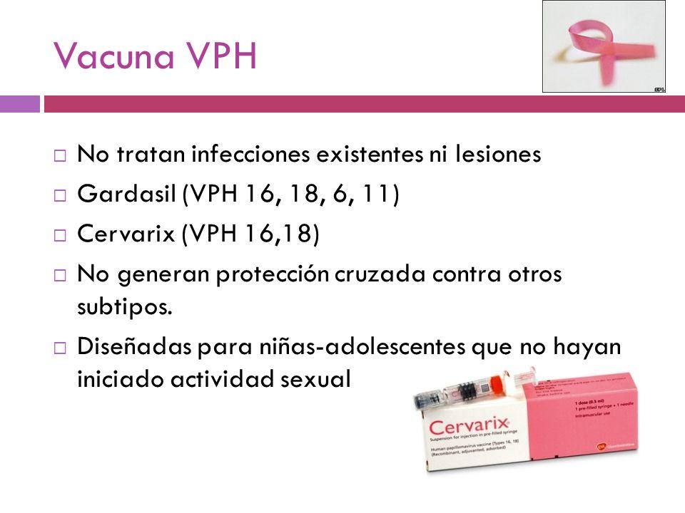 Vacuna VPH No tratan infecciones existentes ni lesiones