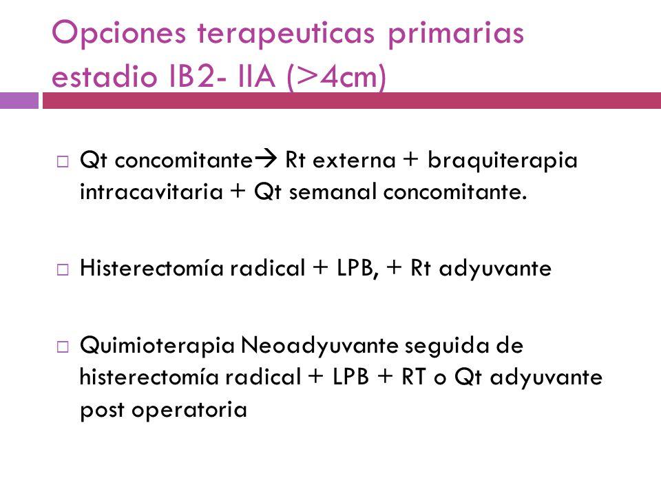 Opciones terapeuticas primarias estadio IB2- IIA (>4cm)
