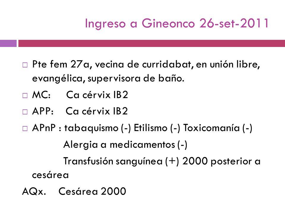 Ingreso a Gineonco 26-set-2011