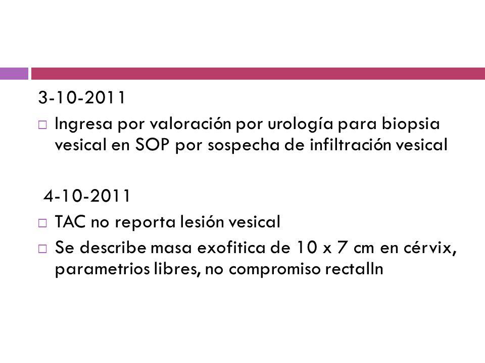 3-10-2011Ingresa por valoración por urología para biopsia vesical en SOP por sospecha de infiltración vesical.