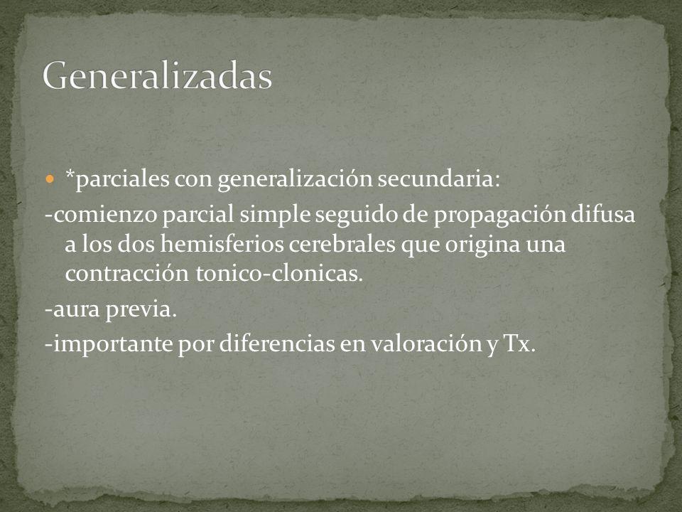 Generalizadas *parciales con generalización secundaria: