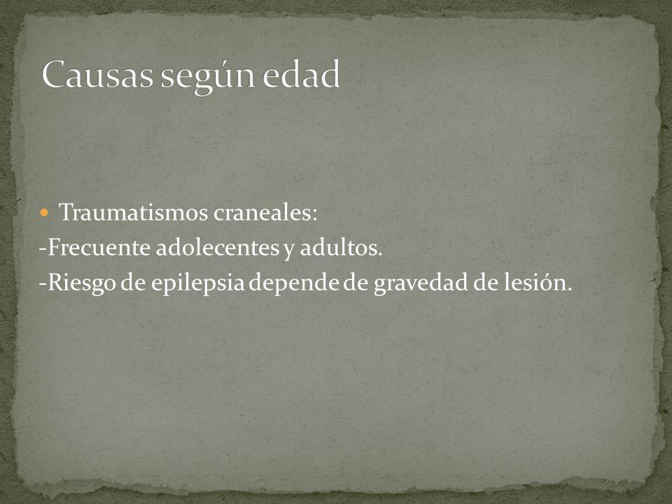 Causas según edad Traumatismos craneales: