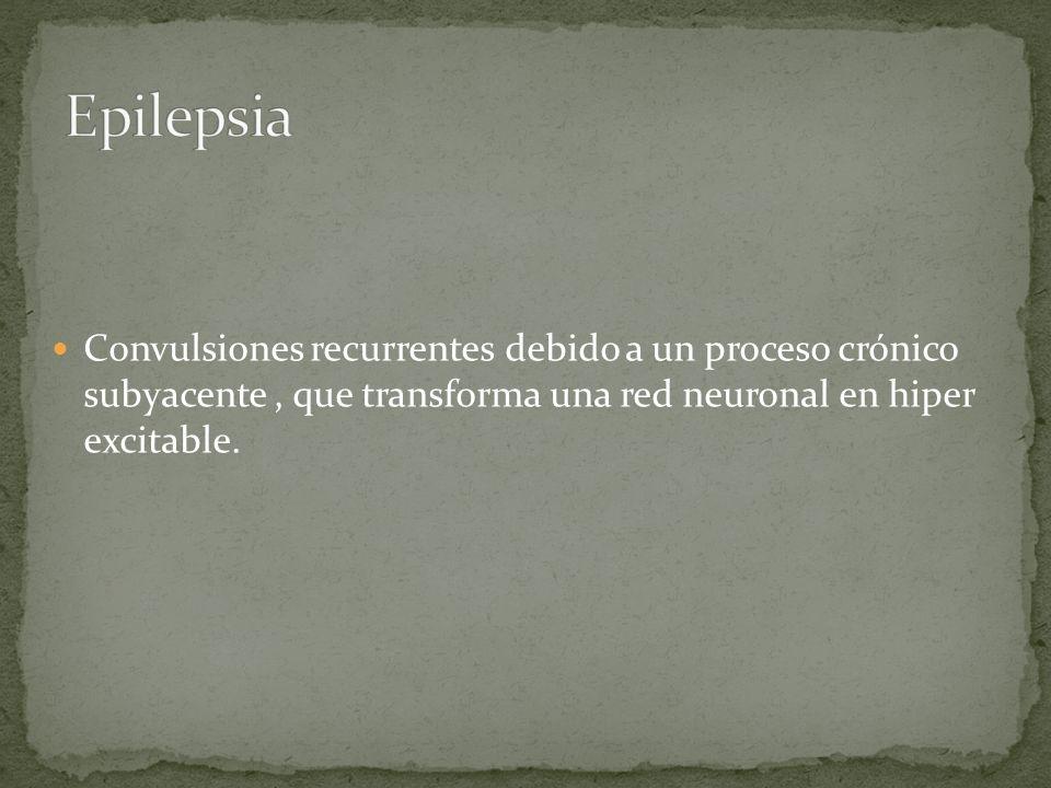 Epilepsia Convulsiones recurrentes debido a un proceso crónico subyacente , que transforma una red neuronal en hiper excitable.