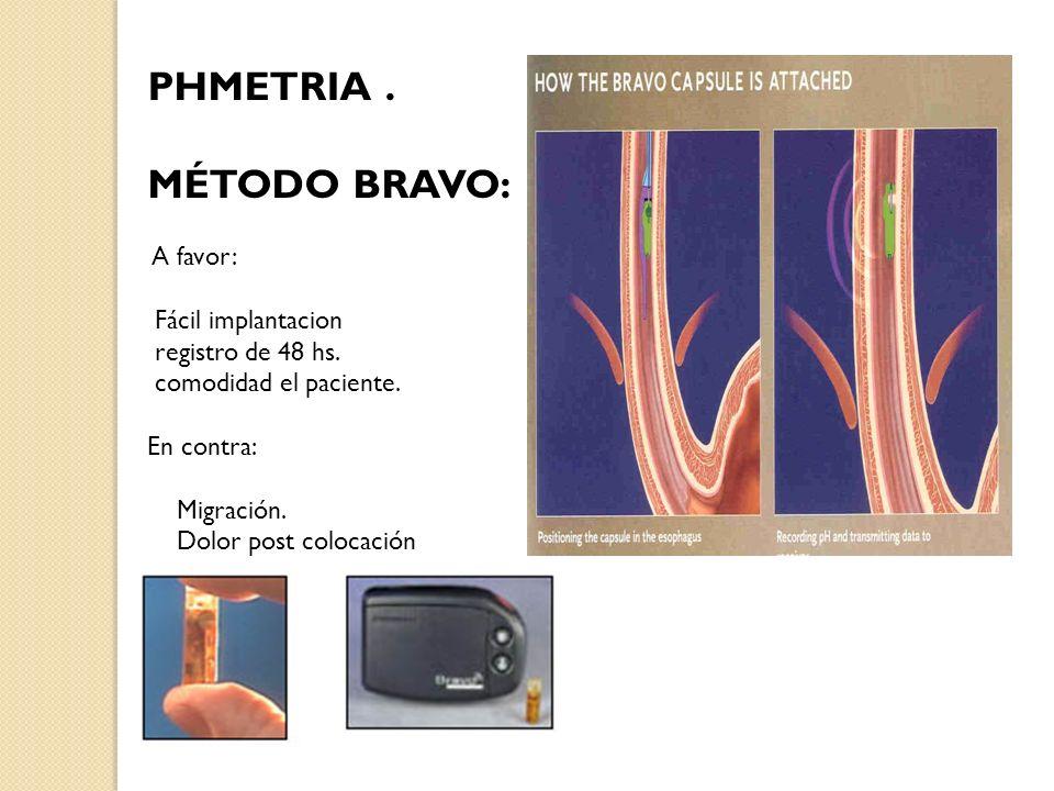 PHMETRIA . MÉTODO BRAVO: A favor: Fácil implantacion