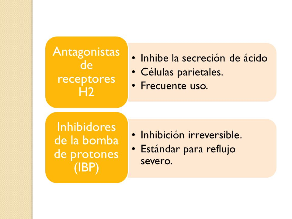Antagonistas de receptores H2 Inhibe la secreción de ácido