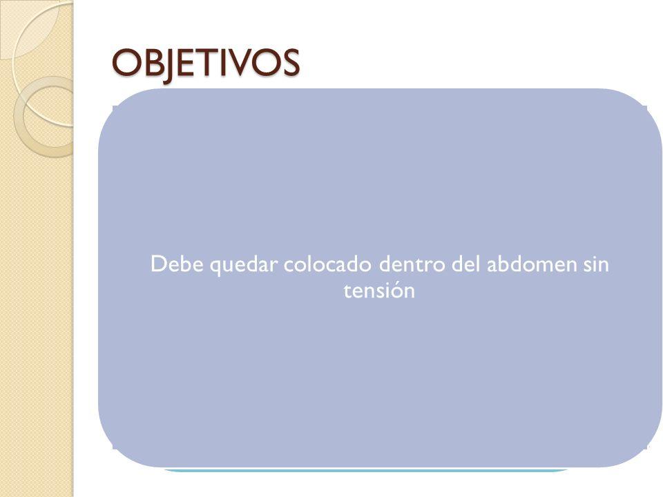 OBJETIVOS Debe quedar colocado dentro del abdomen sin tensión