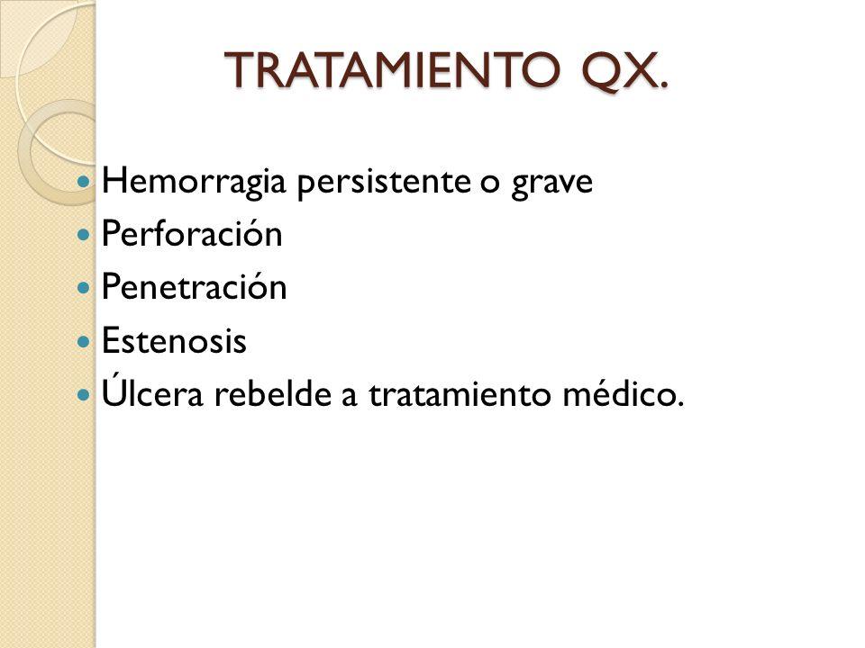 TRATAMIENTO QX. Hemorragia persistente o grave Perforación Penetración
