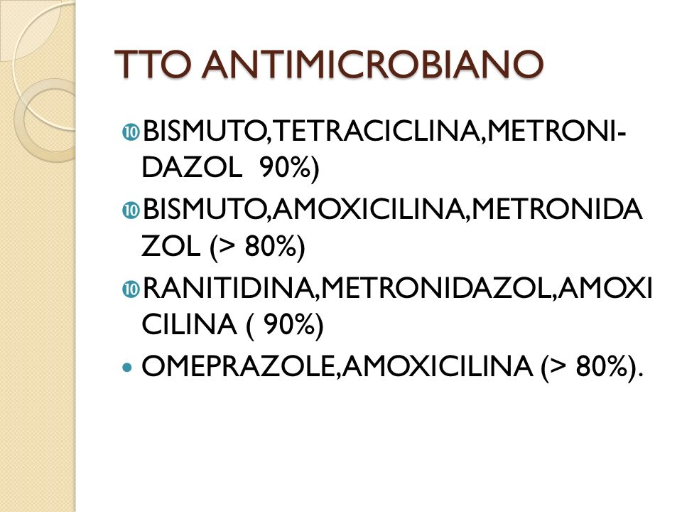 TTO ANTIMICROBIANO BISMUTO,TETRACICLINA,METRONI- DAZOL 90%)