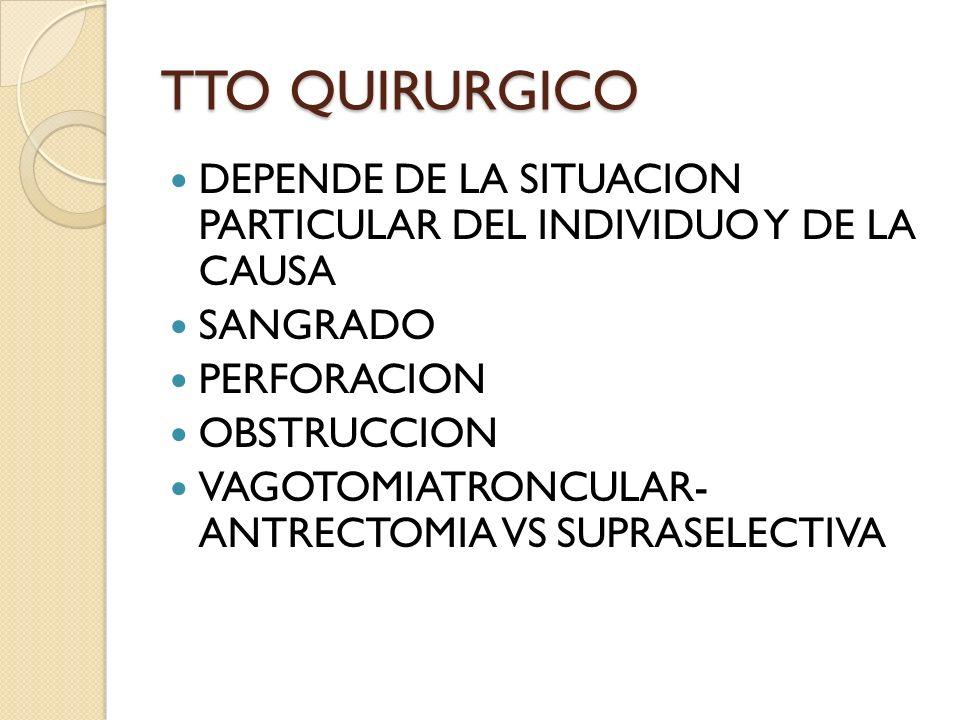 TTO QUIRURGICO DEPENDE DE LA SITUACION PARTICULAR DEL INDIVIDUO Y DE LA CAUSA. SANGRADO. PERFORACION.