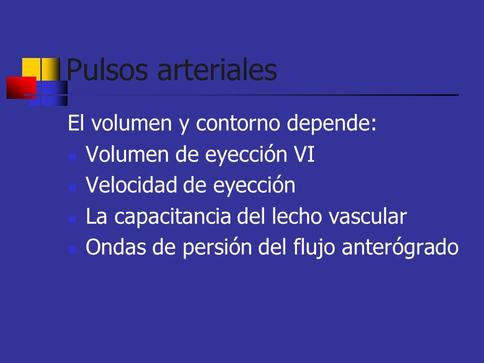 Pulsos arteriales El volumen y contorno depende: