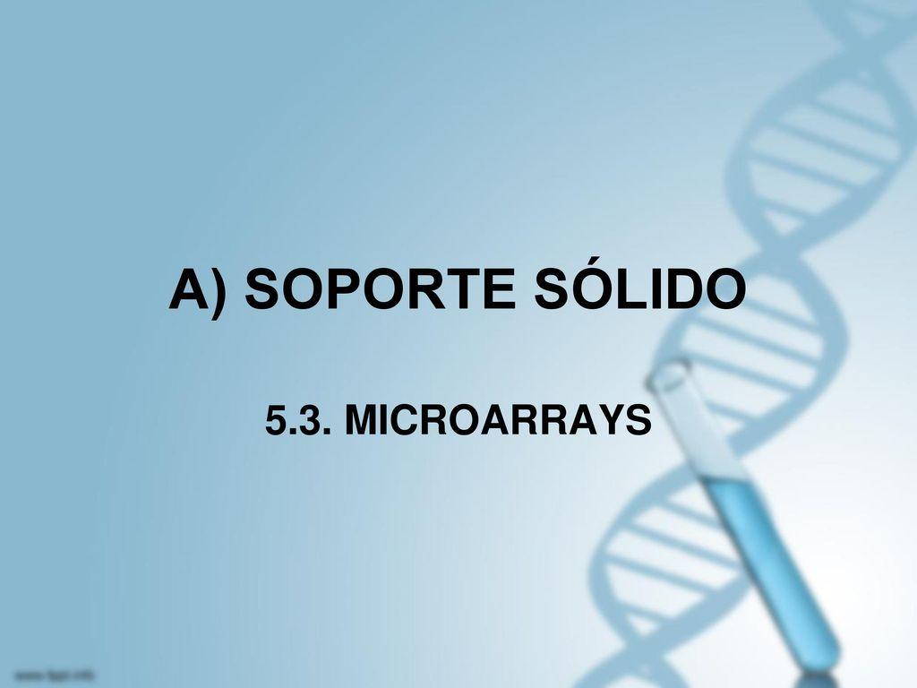 A) SOPORTE SÓLIDO 5.3. MICROARRAYS