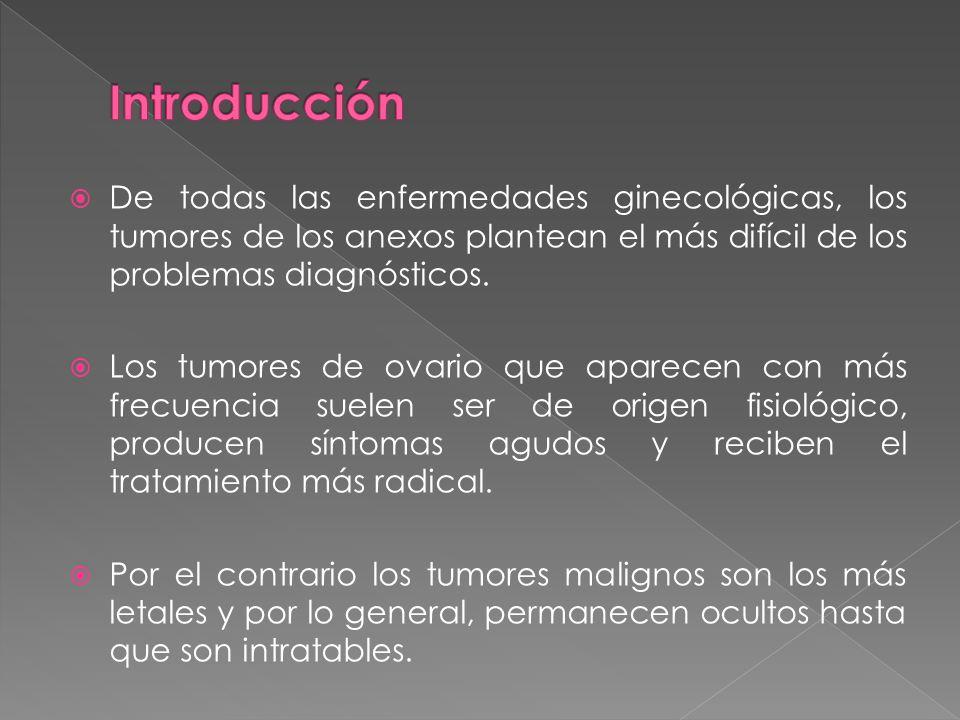 IntroducciónDe todas las enfermedades ginecológicas, los tumores de los anexos plantean el más difícil de los problemas diagnósticos.