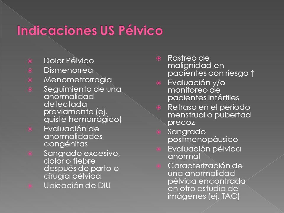 Indicaciones US Pélvico
