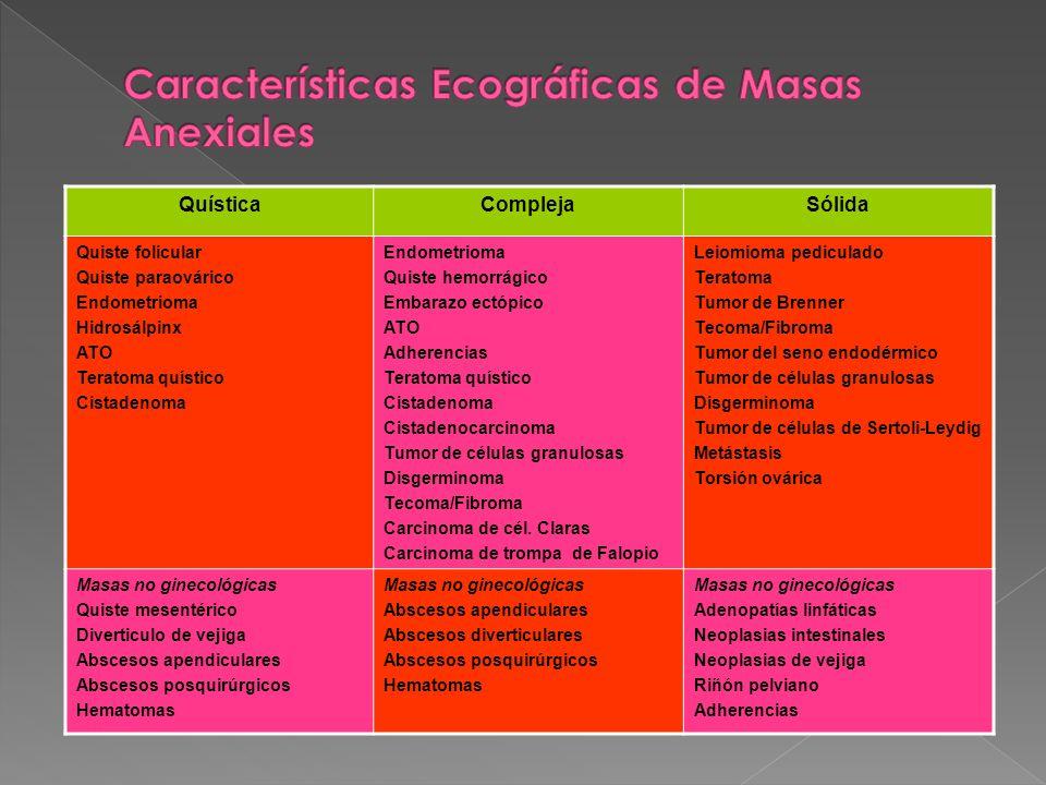 Características Ecográficas de Masas Anexiales