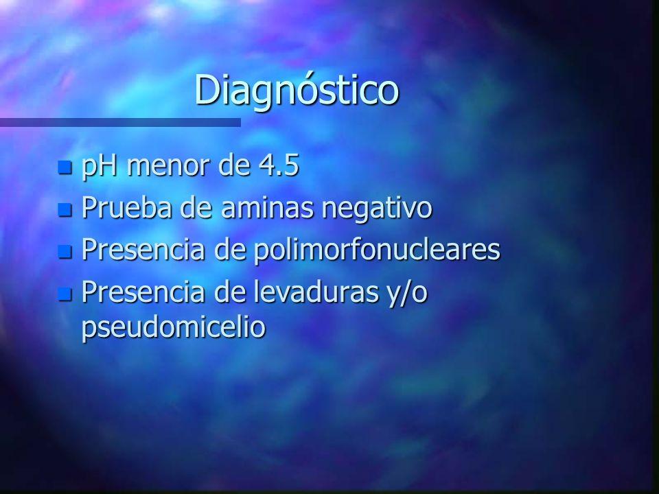 Diagnóstico pH menor de 4.5 Prueba de aminas negativo